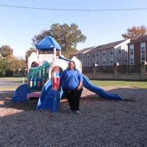 Teacher on playground in Virginia